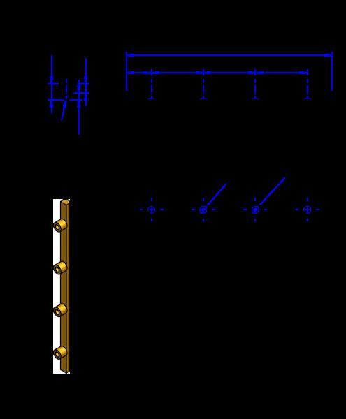 100HTD8 Messing Nockenverbinder / Einlegeschiene / Ersatzzahn